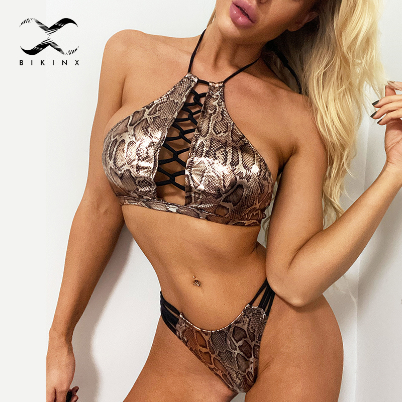 Brazilian Bikini Thong Lace Up Bathing Suit Women Snake Print Swimsuit Female Halter Swimwear Women 2020 Backless Monokini New