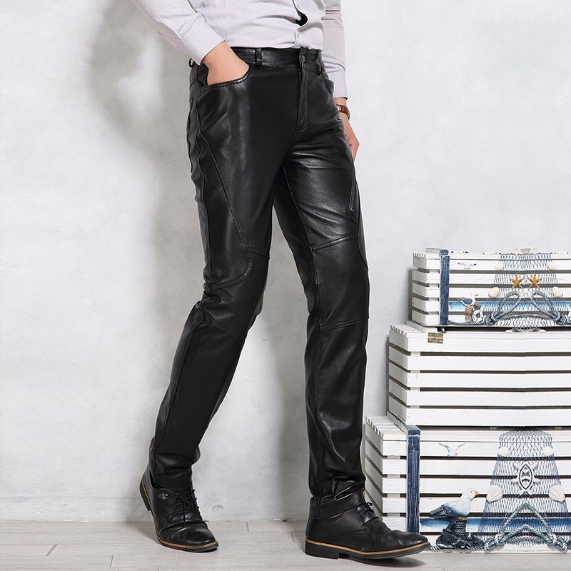 Genuine Leather Pants Men Luxury Brand Black Motorcycle Sheepskin Long Pants Plus Size 4XL Fleece Lining Thick Warm Trousers