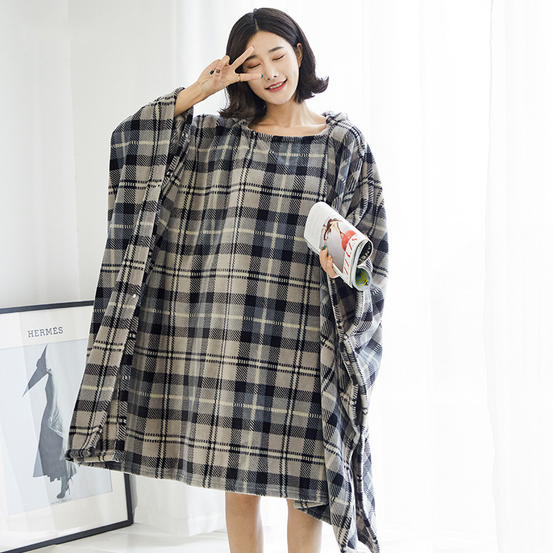 Winter Thick Sofa Comfy TV Blanket Hoodie Sweatshirt Weighted Throw Blanket Fuzzy Fleece Plaid Blanket Fleece Blanket Adult Kids 9