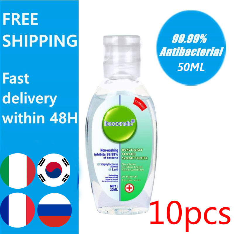 5/10pcs 50ml Gel Hand Sanitizer 75% Bacteriostasis Gel Alcohol Hand Disinfection Sterilization Portable Portable Water Free Hot