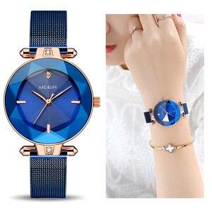 Image 1 - MEGIR Luxury Women Watches Reloj Mujer Blue Stainless Steel Mesh Band Elegant Ladies Watch Women Bracelet Clock Zegarek Damski