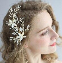 פרח כלה שיער אביזרי חתונה קליפים עבור הכלה בעבודת יד חתונה תכשיטי אביזרי מסיבת כיסוי ראש לנשים קסמי