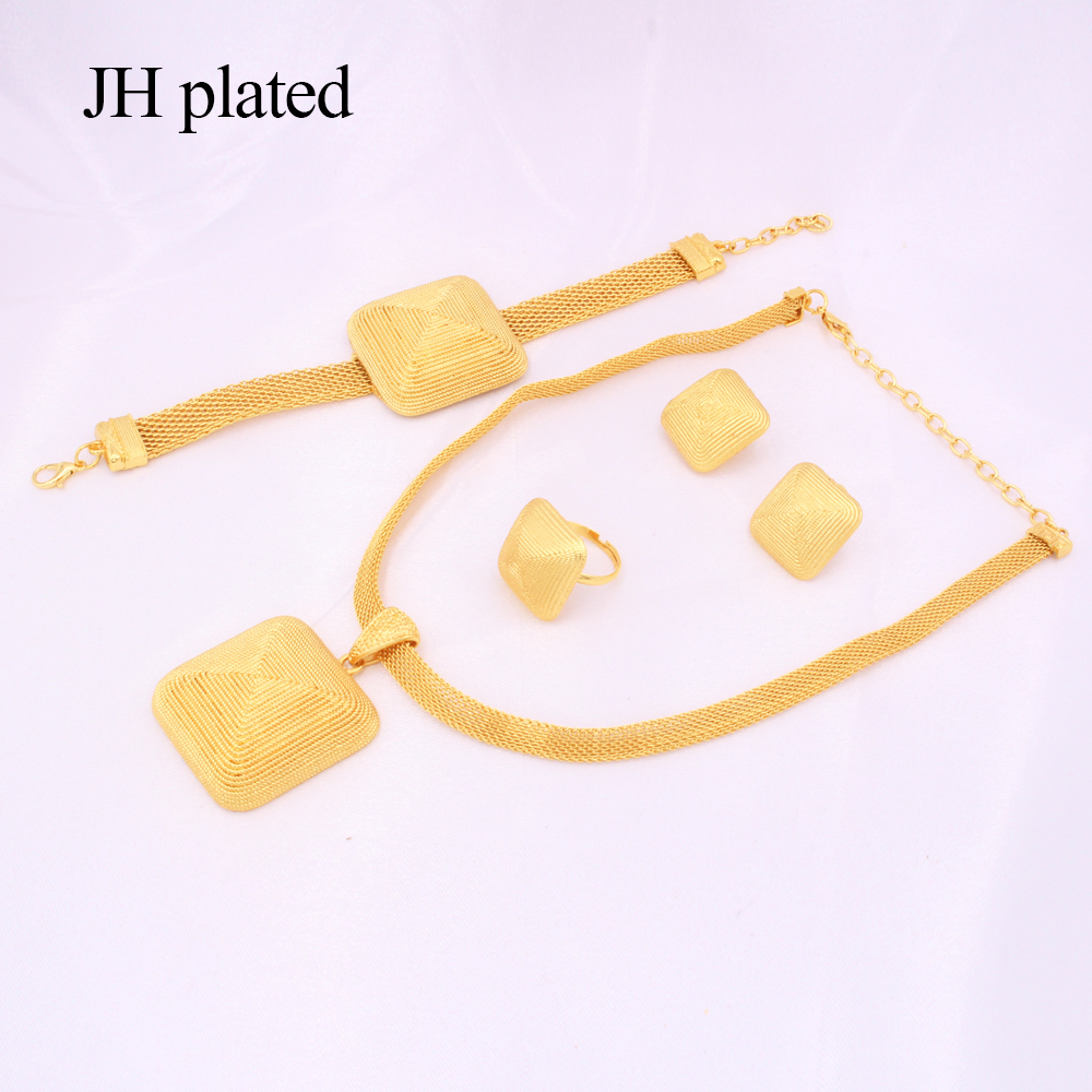 Dubai gold 24K Jewelry sets for women African bridal Wedding gifts party Necklace square earrings ring bracelet jewellery set 4