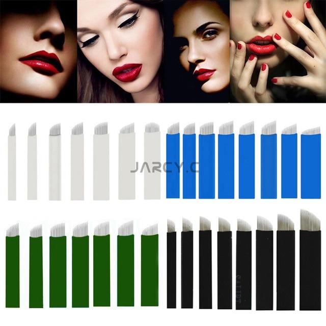 Jarcy.C New 200Pcs/Set Microblading 0.18mm 9 11 12 14 16 18 Pins U-Shaped Permanent Makeup 3D Eyebrow Flex Tattoo Needle Blade