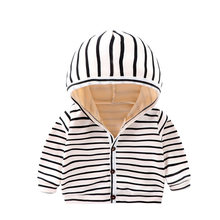 Hoodie Zipper Swaetshirt Coat Winter Cashmere Jackets For Baby Boys Girls Striped Outerwear Windbreaker Coats Cotton Soft 0-3T(China)
