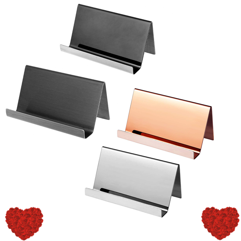 High-End Stainless Steel Business Name Card Holder Display Stand Rack Desktop Table Organizer 4 Colors Organizer For Office L29k