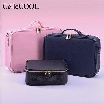 Gran capacidad profesional de las mujeres organizador de maquillaje de moda neceser bolsa de cosméticos multicapa de caja de almace