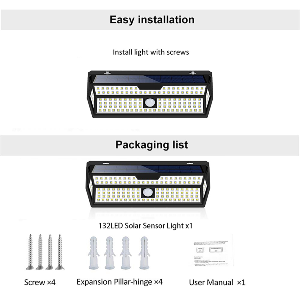 12 pacote litom 132 led solar luz