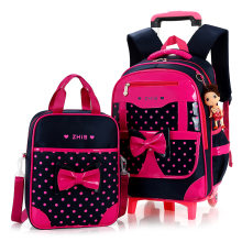 3PCS/set girl trolley case 3D child school bag kids 6-15 years students suitcase Free doll waterproof backpack travel luggage(China)