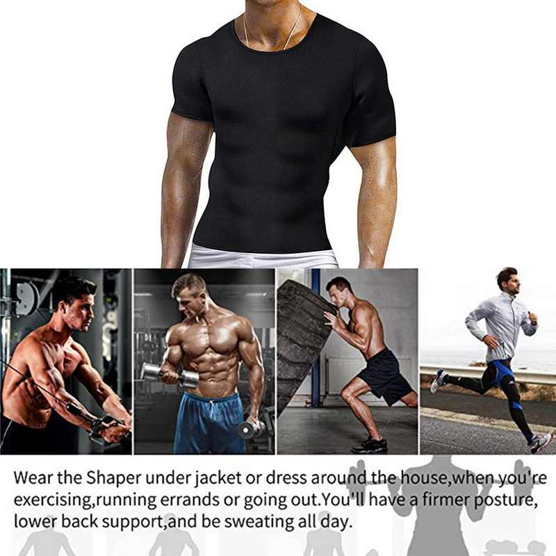 Pria Pembentuk Tubuh Tshirt Penurunan Berat Badan Neoprene Bodysuit Latihan Perut Pinggang Pelatih Hitam Rompi T-shirt Pria Korset