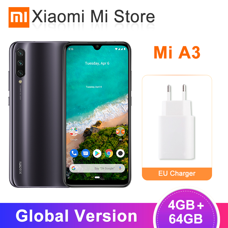 """Global Version Xiaomi Mi A3 4GB 64GB Mobile Phone 6.088"""" Snapdragon 665 48MP AI Triple Cameras Android One"""