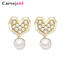 Carvejewl high quality pearl stud jewelry cute abstract Cartoon Mickey Minnie earrings plastic post anti allergy