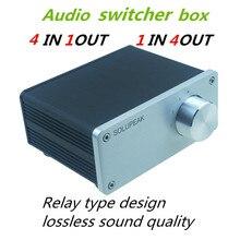 Segnale splitter 4 IN 1 OUT audio connettore rca selettore di segnale relè Selettore di Sorgente HIFI ingresso rca cavo switcher schalter boX