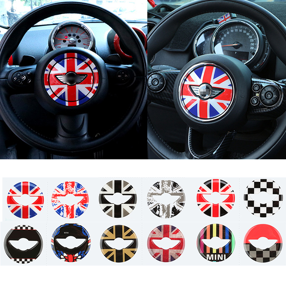Car Steering Wheel Center 3D Dedicated Car Sticker For Mini Cooper R55 R56 R60 R61 F55 F56 F60 Clubman Countryman Accessories