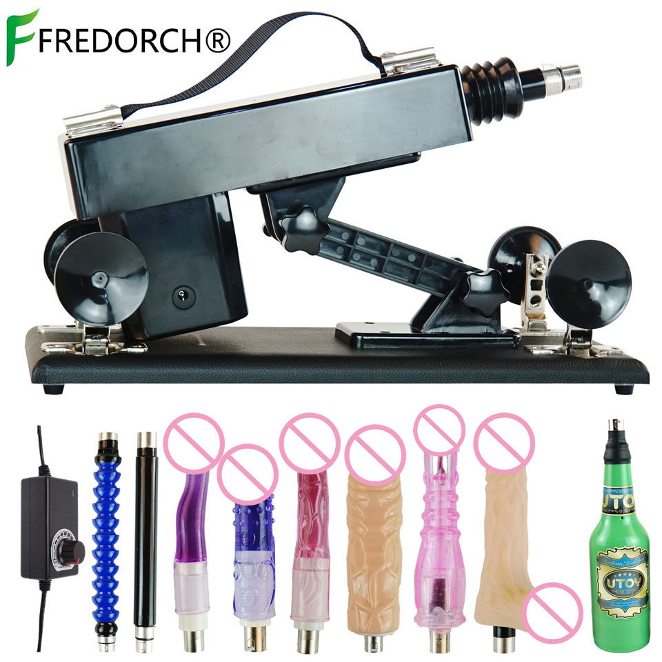 FREDORCH Sex Machine with 6 Specifications Dildo and Green Male Masturbation Cup Automatic Love Machine Gun for Men and Women image