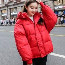 Zagęścić ciepłe zimowe kurtki płaszcz kobiety 2020 koreański dół bawełny wyściełane parki dla kobiet czerwony żółty zielony płaszcz z kapturem kobiet