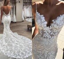 2020 ברטה בת ים חתונת שמלות 3D פרחוני Applique תחרה ללא משענת לטאטא טול רכבת בתוספת גודל boho חוף שמלות הכלה Robe דה