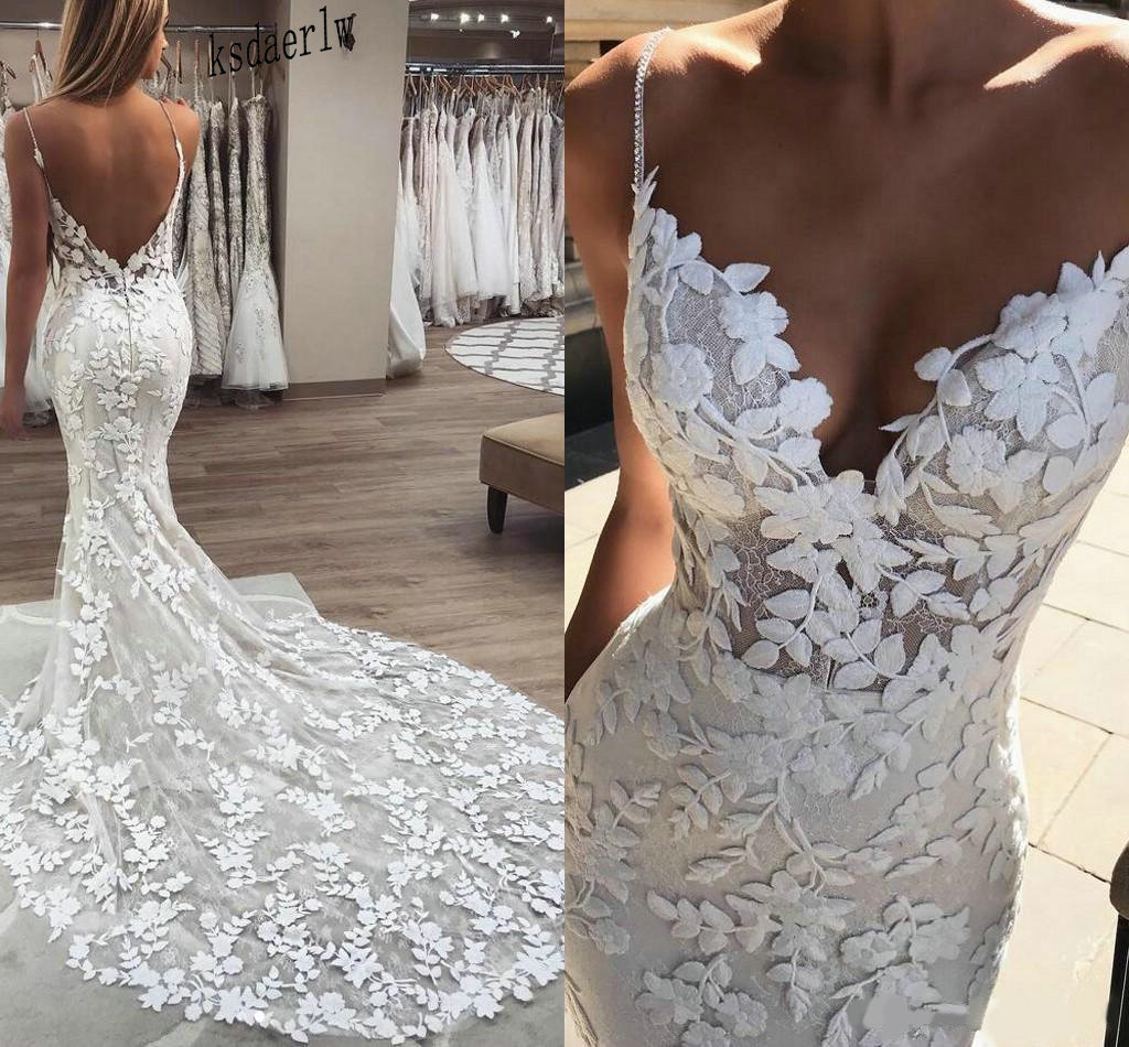 2020 Berta Mermaid Wedding Dresses 3D Floral Applique Lace Backless Sweep Tulle Train Plus Size Boho Beach Bridal Gowns Robe De