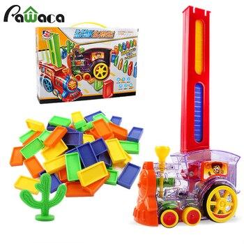 Conjunto de juguete tren dominó, modelo de tren eléctrico con, 60 uds juego de dominó colorido bloques de construcción coche camión apilamiento de vehículos