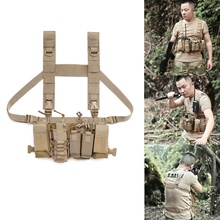 Men Women Tactical Chest Rig Bag Radio Harness Chest Front Pack Pouch Holster Military Vest Chest Rig Bag Adjustable outdoor hunting tactical chest rig adjustable padded modular military vest mag pouch magazine holder bag platform