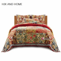 Handmade Machine washable 100% cotton material 1* bedspread 2 *pillowcases Country style Quilt Set Queen Quilted Bedspreads