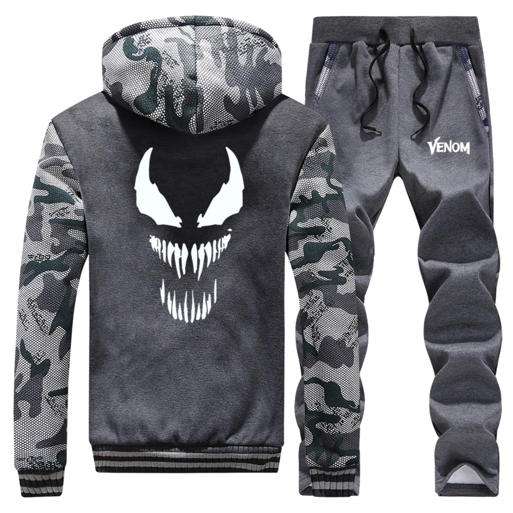 Venom Marvel Mens Two Piece Set Autumn Winter Fleece Jacket Street Sweatpants Brand Clothes Male Warm Hooded Coats Sports Pants