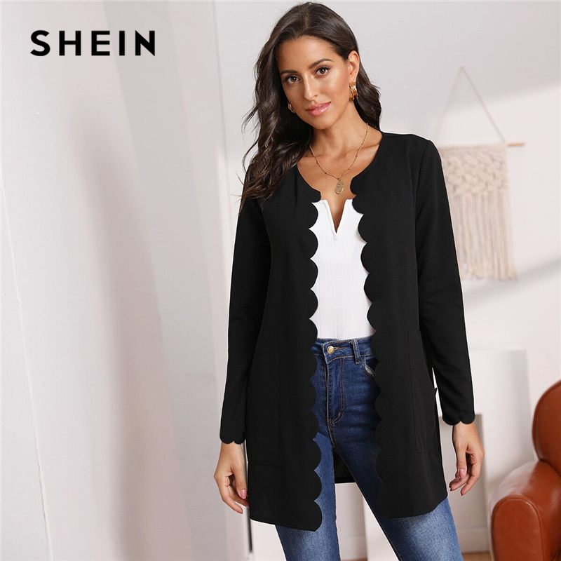 SHEIN Round Neck Solid Open Front Scallop Trim Elegant Coat Women 2019 Autumn Long Sleeve Office Ladies   Basic   Pocket Outwear