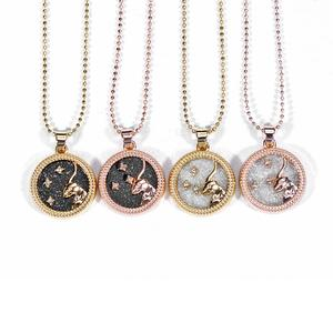 New Design 12 Constellation Zodiac Sign Pendant Necklace Rosegold Chain Leo Choker Necklace for Women Girl Jewelry Birthday Gift
