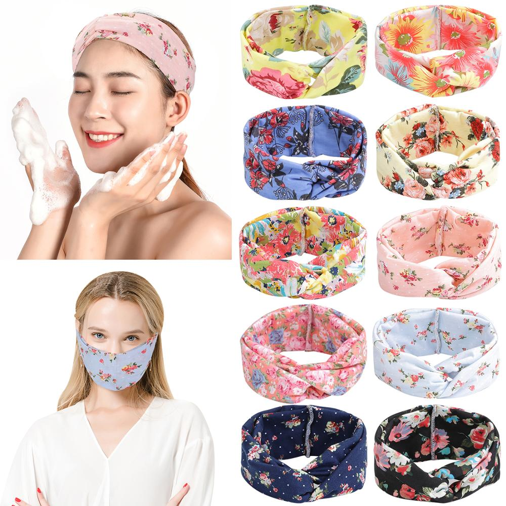 100% Cotton Headband Bandanas Workout Women Girls Floal Cross Hair Band Head Wrap For Sport Yoga Running Gift Daily