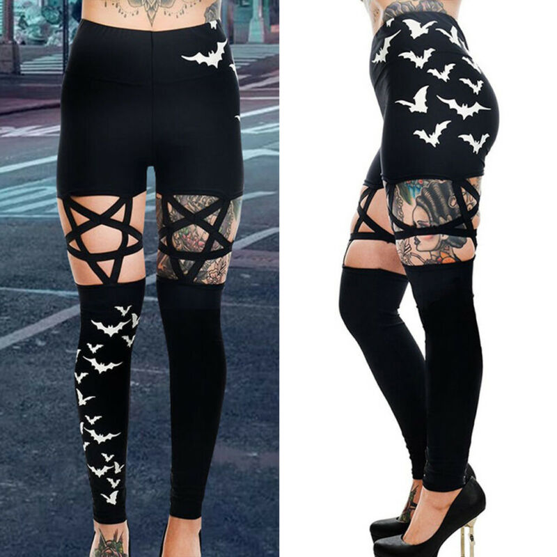 Punk Women Gothic Leggings Hollow Out Bats Print Pentagram Pencil Pants Streetwear High Waist Leggings Women Trouser Sweatpants