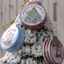 Buy Christmas Tinplate Tins Candy Cookie Gift Storage Container Xmas Tree Gift Cases Collectible Christmas Decor Storage BoxCM directly from merchant!