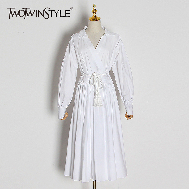 TWOTWINSTYLE Casual Pleated Dresses For Female Lapel Collar Lantern Long Sleeve High Waist With Lace Dress Women Clothes Fashion
