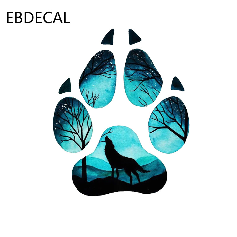 EBdecal Creative Wolf Footprint Puzzle DecalFor Auto Car/Bumper/Window/Wall Decal Sticker Decals DIY Decor CT5381