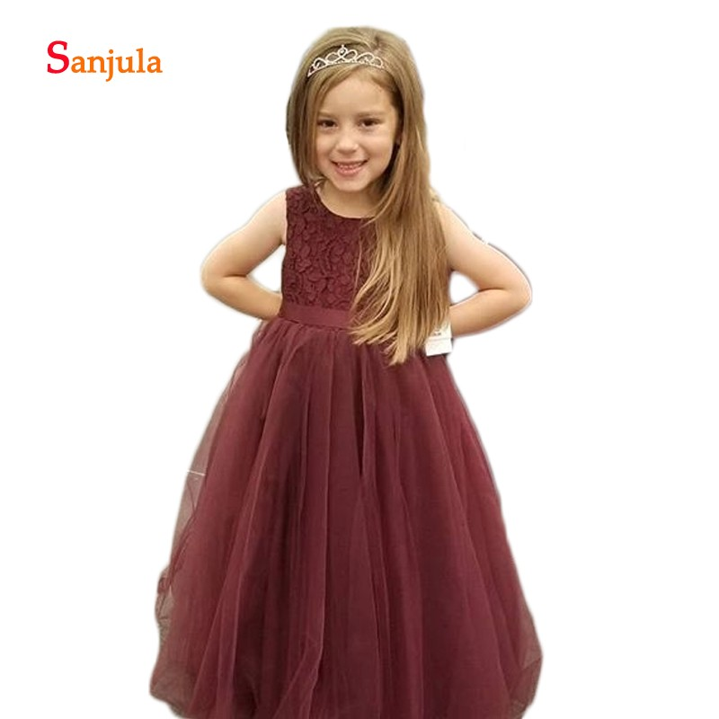 Burgundy Tulle Sweet   Flower     Girls     Dresses   Long Lace Top Charming   Girls   Pageant Party Gowns Open Back vestido flores D1182