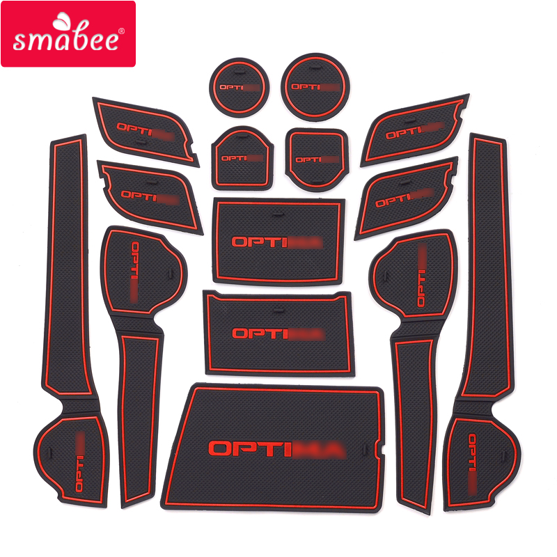 Smabee Gate Slot Mats For KIA Optima 2016 2017 2018 2019 JF 4th Gen Mk4 KIA K5 SW Interior Door Pad Cup Holders Non-slip Mats
