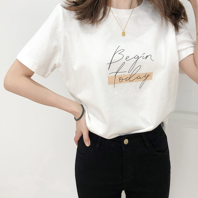 H1fd7549a8bb64189be5ac86aaafd6050L - Letter Women T-Shirt O Neck Short Sleeve Loose Casual Pure Cotton Girls Spring Thick Pullovers Femme Fashion Clothings