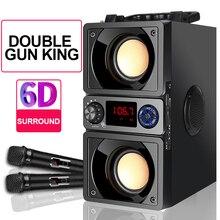 Subwoofer hoparlör süper bas 5.0 Bluetooth bilgisayar hoparlör iki boynuzları 6D Surround stereo açık ev taşınabilir hoparlörler TF FM