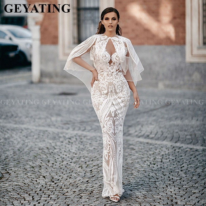 Elegant Arabic White Evening Dresses With Cape Sexy V-Neck Backless Slit Women African Formal Gowns Plus Size Dubai Prom Dress