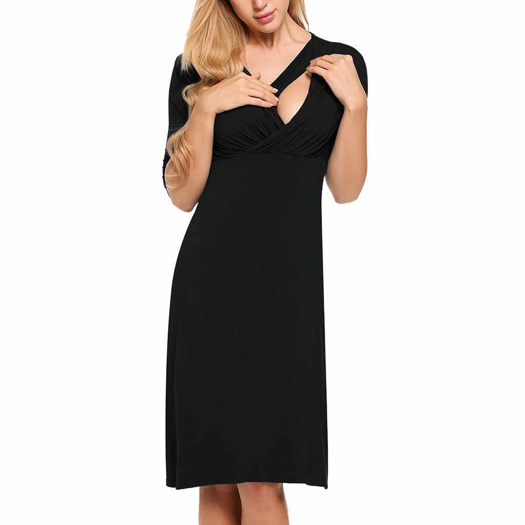 Mutterschaft Kleider Herbst Frauen Stillen Solide Halb Hülse V-ausschnitt Kleid Robe Grossesse Premama Kleidung Für Schwangere Frauen