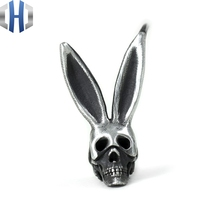 Original Design Handmade Silver 925 Earrings Rabbit Ear Hook Personality Skull