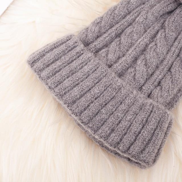 Fashion Warm Knitted Women's Hat Striped Winter Hats For Women Pink Fur Pompom Wool Beanies Thick Skullies Cap faux Pom pom Hat 6