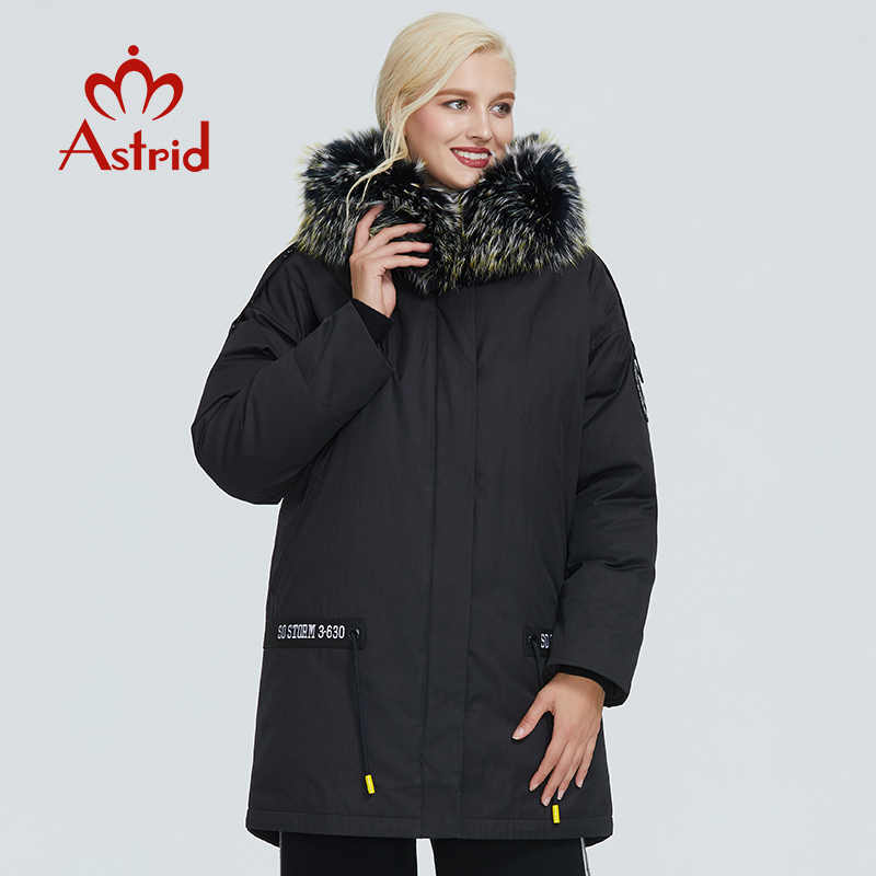 2019 Astrid Jaket Musim Dingin Tebal Pakaian Katun Leisure Hitam Hangat Wanita Parka dengan Besar Bulu Kerah Desain ZR-3030
