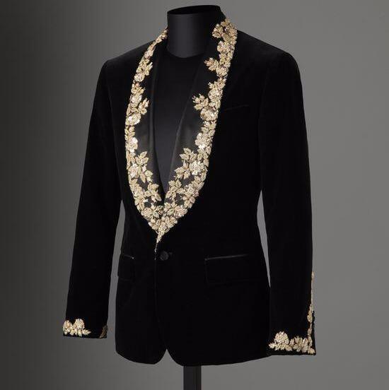 ANNIEBRITNEY Brand Men Suit Custom Black Velvet Applique Slim Fit Tuxedo 2Pcs Groom Wedding Suits Blazer Jacket With Pants Set