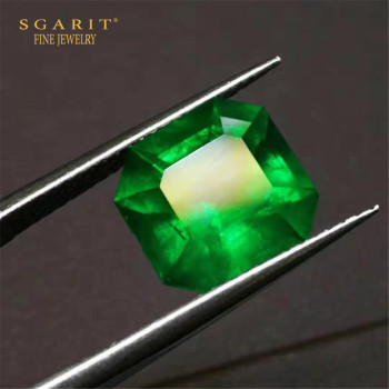 European royal customized gemstone jewelry making 4.43ct Colombia natural vivid green emerald loose stone 1