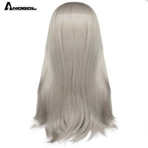 """Image 4 - Anogol ארוך ישר 26 """"בורגונדי ורוד אפור שחור ערמוני טבעי בלונד לבן סינטטי פאה עבור נשים עם פוני שטוח פרינג"""