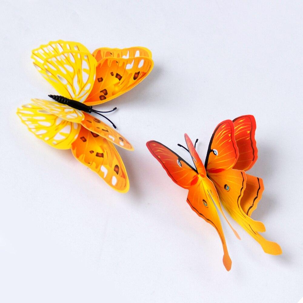 12 pçs 3d multicolorido adesivo dupla camada asas borboleta adesivo de parede magnético ímã festa crianças quarto geladeira decoração - 5