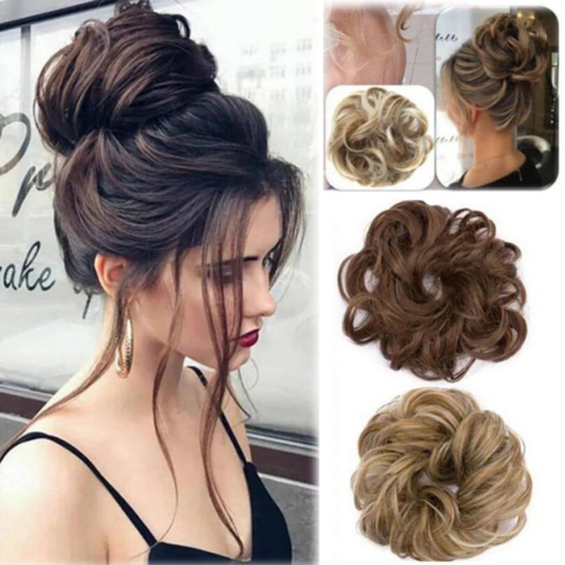 Easy To Wear Stylish Hair Scrunchies Naturally Messy Curly Bun Hair Extension HJL2019