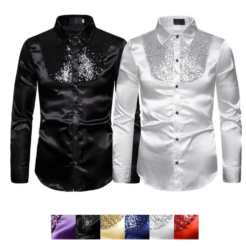 フォーマル男性パーティータキシードシャツスリムボールウェディングシルクのようなサテン長袖ドレスシャツ男性秋服トップススパンコールシャツ