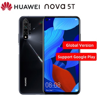 "Global Version Huawei Nova 5T Moible Phone 6.26"" 8GB RAM 128GB ROM Kirin 980 Quad Camera Android 9.0 NFC Dual SIM Smart Phone"