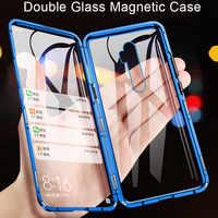 Boîtier magnétique en verre transparent Double face avant + arrière pour OPPO Reno ACE Reno Z Reno2 2Z 2F Reno 10X Zoom étui de métal